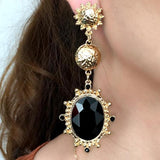 Gold Color Big Black Resin Gems Dangle Drop Earrings - Earrings - LoxLux Jewelry