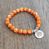 BRACELET Orange Natural Stone Chakra Mala Beads Charm Bracelet LoxLux Jewelry