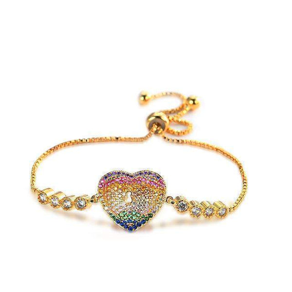 BRACELET Rhinestone Zircon Golden Heart Fashion Adjustable Bracelet LoxLux Jewelry