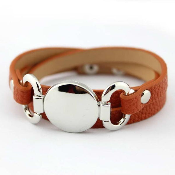 BRACELET Silver Blank Disk Multiple Wrap Leather Bracelet LoxLux Jewelry
