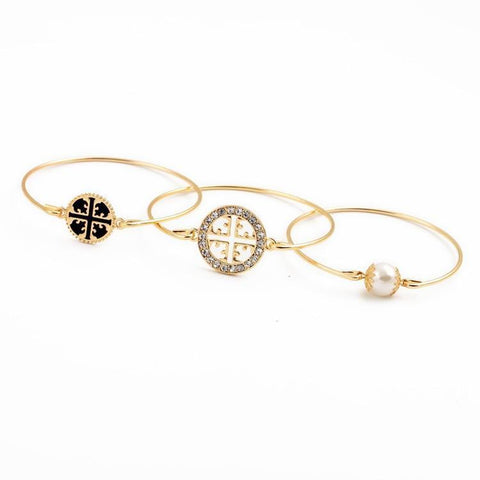 BRACELET Three Gold Plated Charm Bangles LoxLux Jewelry