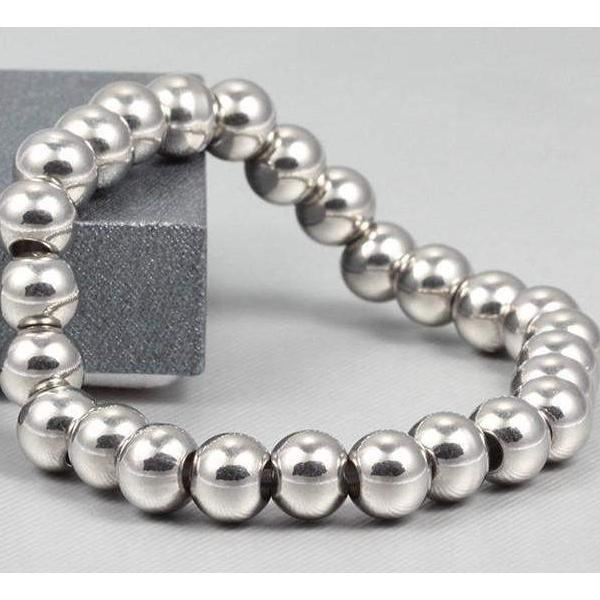 BRACELET Titanium Stainless Steel Stretchable Beaded Silver Color Bracelet LoxLux Jewelry
