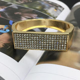 Trendy Gold Color Alloy Full Rhinestones Cuff Statement Bracelet - BRACELET - LoxLux Jewelry