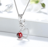 AAA CZ 925 Sterling Silver Fairy Sitting On Heart Garnet Pendant Necklace - necklace - LoxLux Jewelry