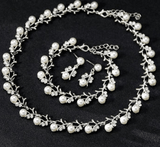 Simulated Pearl Necklace Drop Earrings And Bracelet Set