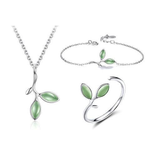 925 Sterling Silver Cat's Eye Stone Bracelet, Ring And Pendant Necklace - JEWELRY SET - LoxLux Jewelry