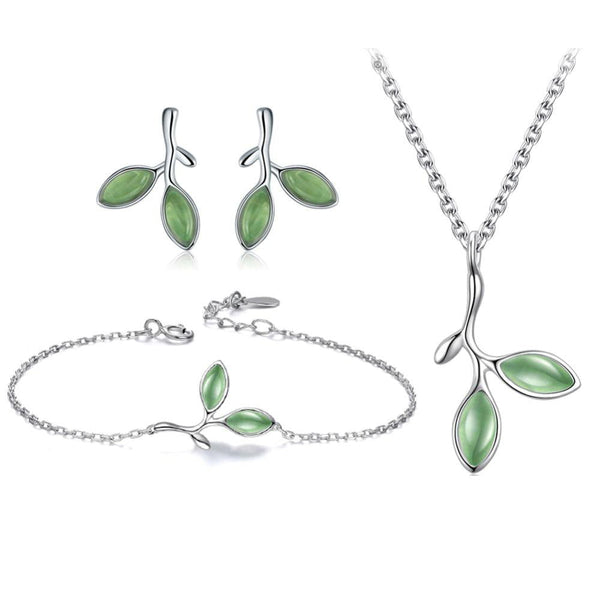 Leaf Design 925 Sterling Silver Cat's Eye Stone Bracelet, Earrings And Necklace