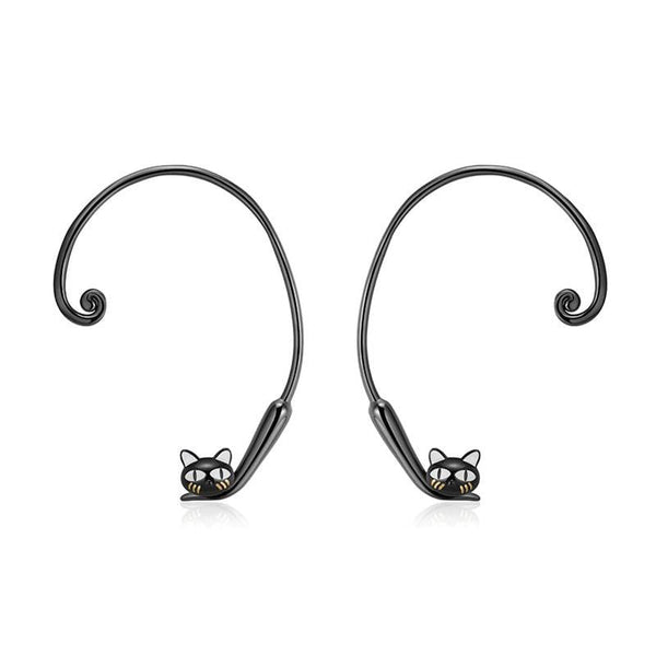 Sterling Silver Cute Jumping Black Cat's Tail Adjustable Stud Earrings