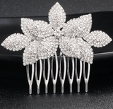 Cute Crystal Flower Leaf Hair Pins / Combs - Accessories - LoxLux Jewelry