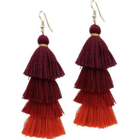 4 Layered Multicolor Cotton Long Dangle Earrings - Earrings - LoxLux Jewelry