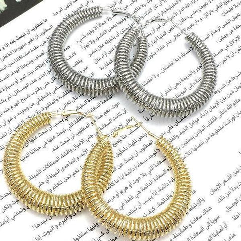 55mm Gold & Silver Color Spring Hoop Earrings - Earrings - LoxLux Jewelry
