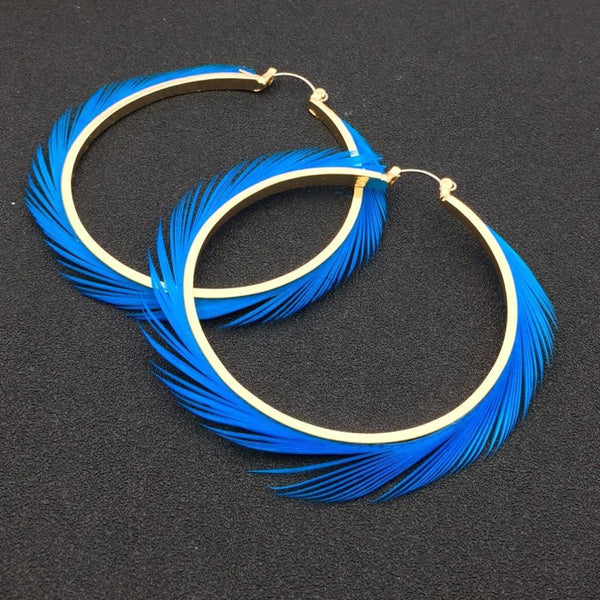 70mm Diameter Feather Hoop Earrings - Earrings - LoxLux Jewelry
