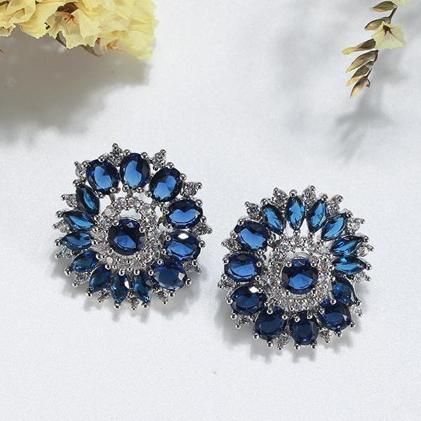 AAA Blue Cubic Zircon Luxury Stud Earrings - Earrings - LoxLux Jewelry