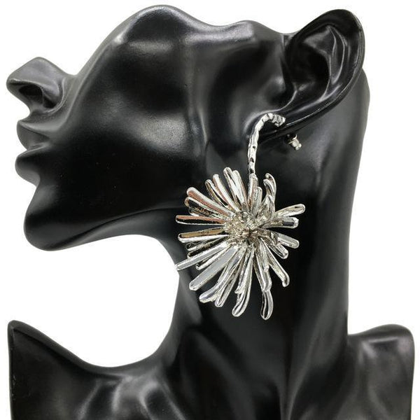 Alloy Big Flower Statement Stud Earrings - Earrings - LoxLux Jewelry