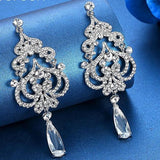 Big Crystal Imitated CZ Heart Shape Hanging Earrings - Earrings - LoxLux Jewelry