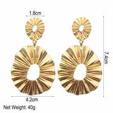 Big Gold Color Geometric Shape Dangle Earrings - Earrings - LoxLux Jewelry