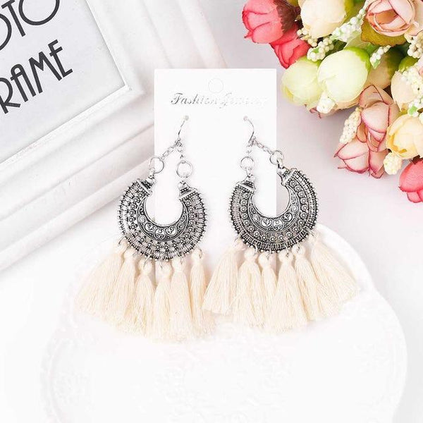 Bohemian Style Long Tassel Dangle Earrings - Earrings - LoxLux Jewelry