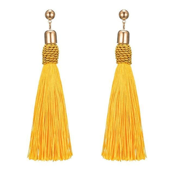 Braided Long Tassel Drop Earrings - Earrings - LoxLux Jewelry