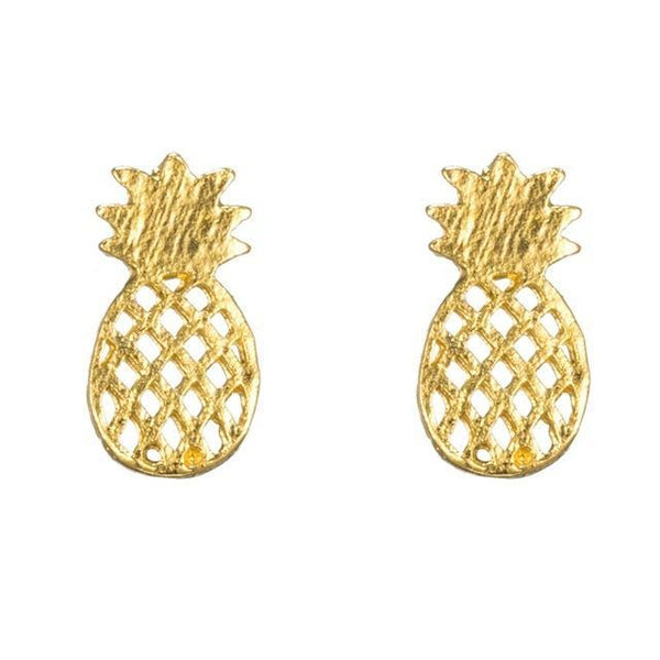 Brushed Pineapple Stud Earrings - Earrings - LoxLux Jewelry