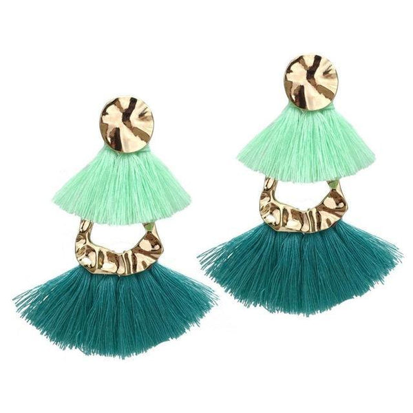 Cotton Layered Fringed Dangle Tassels Earrings - Earrings - LoxLux Jewelry