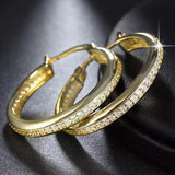 Cubic Zirconia Rose Gold / Gold / Silver Hoop Earrings - Earrings - LoxLux Jewelry