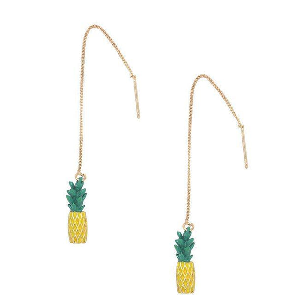 Cute Pineapple And Strawberry Long Stud Earrings - Earrings - LoxLux Jewelry