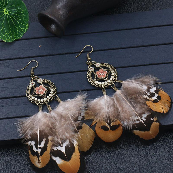 Drops Round Hollow Fringe Feather Dangle Earrings - Earrings - LoxLux Jewelry