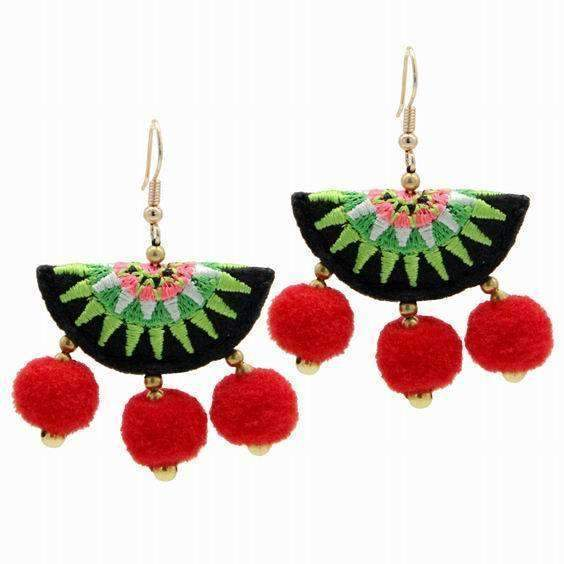 Embroidery Pom Pom Tassel Earrings - Earrings - LoxLux Jewelry