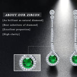 Emerald Green Zircon Cubic Zirconia Sterling Water Drop Silver Earrings - Earrings - LoxLux Jewelry