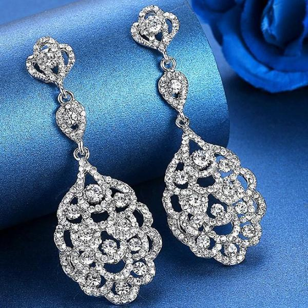 Floral Pattern Rhinestone Long Drop Earrings - Earrings - LoxLux Jewelry