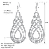 Geometric Pattern Drop Hanging Crystal Earrings - Earrings - LoxLux Jewelry
