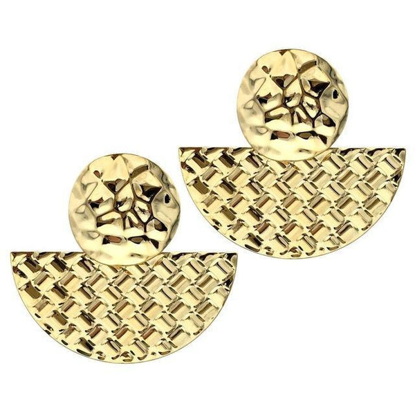 Geometric Shape Gold And Silver Big Stud Earrings - Earrings - LoxLux Jewelry
