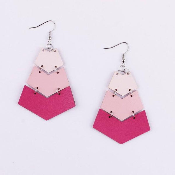 Geometric V Shape Leather Chevron Earrings - Earrings - LoxLux Jewelry