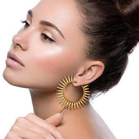 Gold Color Sun Sawtooth Round Stud Earrings - Earrings - LoxLux Jewelry
