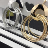 Gold & Silver Color Big Circle Dangle Earrings - Earrings - LoxLux Jewelry