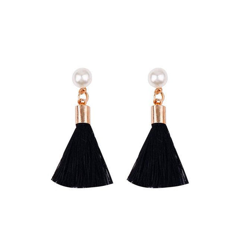 Imitation Pearl Tassel Earrings - Earrings - LoxLux Jewelry