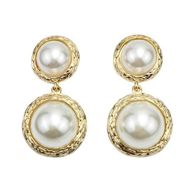 Large Double Pearl Dangle Drop Statement Earrings - Earrings - LoxLux Jewelry