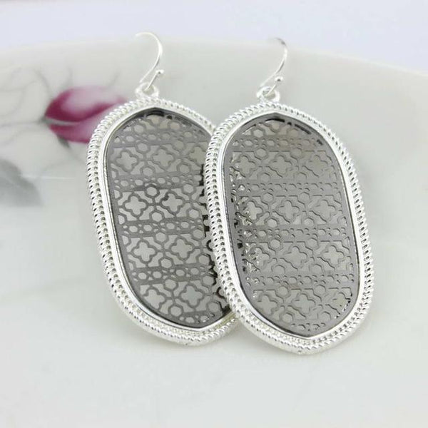 Large Patterned Cutout Moroccan Oval Drop Earrings & Necklace - Earrings - LoxLux Jewelry