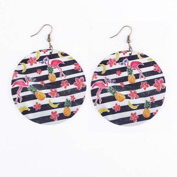 Large Wooden Tropical Flamingo Pineapple Vacation Earrings - Earrings - LoxLux Jewelry