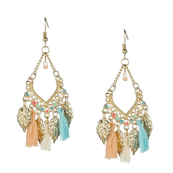 Leaves And Tassel Retro Chandelier Earrings - Earrings - LoxLux Jewelry