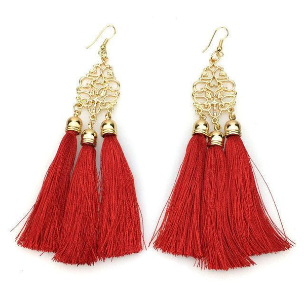 Long Boho Tassel Earrings - Earrings - LoxLux Jewelry