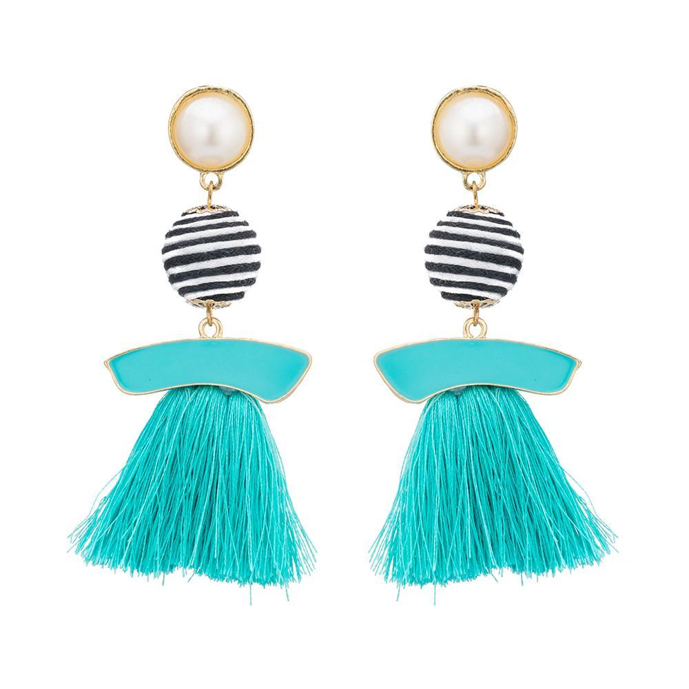 Multicolor ball long dangle chandelier earrings loxlux jewelry mozeypictures Image collections