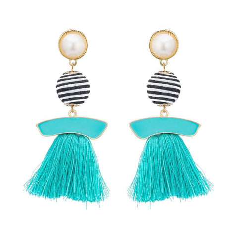 Multicolor Ball Long Dangle Chandelier Earrings - Earrings - LoxLux Jewelry