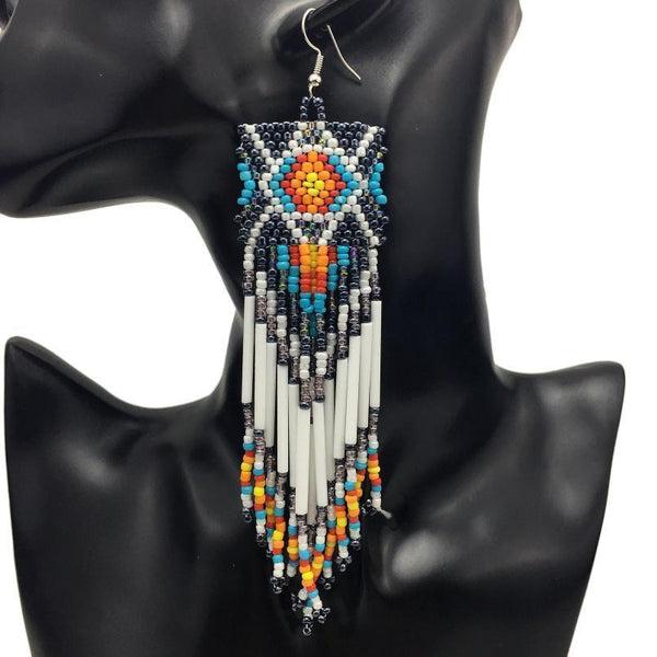 Earrings Multicolor Handmade Beaded Tassel Narrow Earrings LoxLux Jewelry