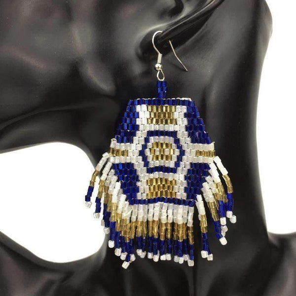Earrings Multicolor Handmade Beaded Tassel Wide Earrings LoxLux Jewelry