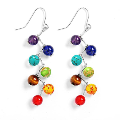 Earrings Natural Stone Yoga 7 Chakra 6mm Beads Earrings LoxLux Jewelry