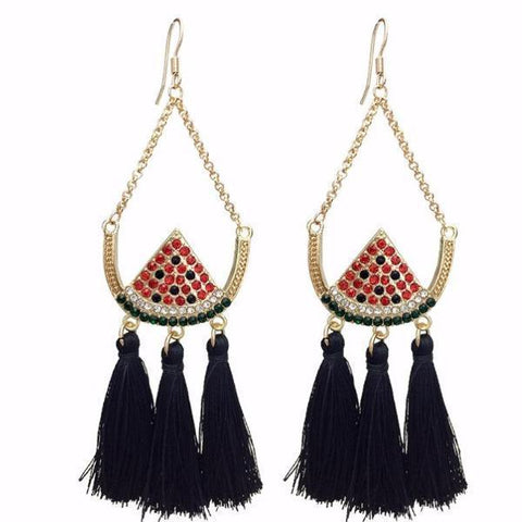 Earrings Rhinestone Long Fringed Drop Watermelon Tassel Earrings LoxLux Jewelry