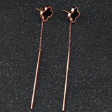 Earrings Stainless Steel Black Clover Long Stud Earrings LoxLux Jewelry