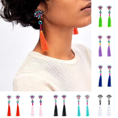 Tassel Long Dangle Drop Earrings - Earrings - LoxLux Jewelry