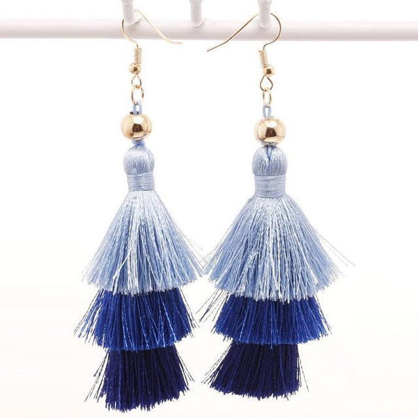 Three Layered Fringe Tassel Long Drop Earrings - Earrings - LoxLux Jewelry